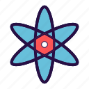 atom, biology, medical, molecule, nuclear, nucleus, science icon