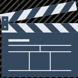 action, cinema, cinematography, clapboard, clapper, film, movie, video icon