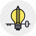 idea, insight, key, lamp, lightbulb, understanding icon