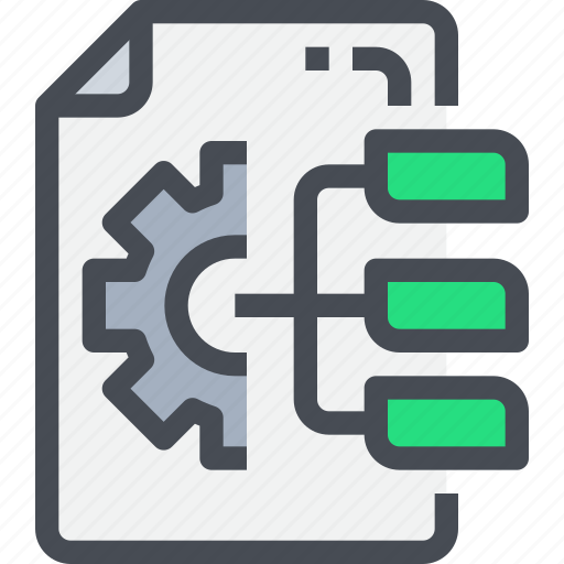 develop, flowchart, gear, management, planning, process icon
