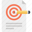achievement, design, goal, paper, pencil, plan, target icon