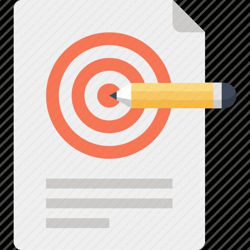 achievement, design, goal, paper, pencil, plan, target icon