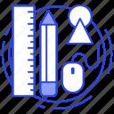 art equipment, designing equipment, drawing tools, process tool, sketching tool icon