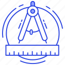 compass, divider, drawing tool, geometry equipment, precision icon