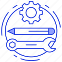 designing equipment, process tool, repairing tools, sketching tool, technical tools icon