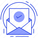 approved email, authentic letter, digital mail, mail, verified mail icon