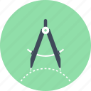 compass, design, drawing, geometry, graphic, precision, tool icon
