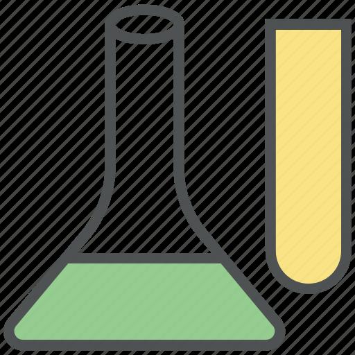 beaker, chemistry, erlenmeyer flask, flask, flask tube, laboratory icon