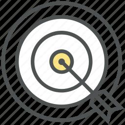 bullseye, bullseye arrow, dartboard, goal, mission, shooting, target icon