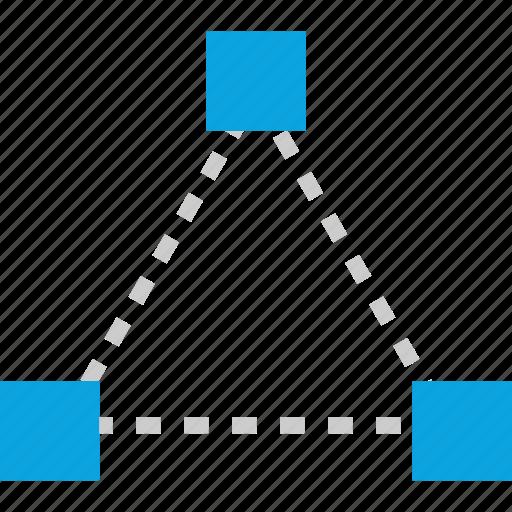 connect, corners, creative process, triangle icon