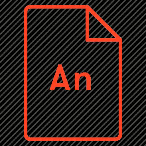 adobe, animate, cc, coloured, file, outline icon