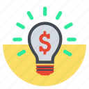 bright, bulp, business idea, creative, idea, lamp, money idea icon