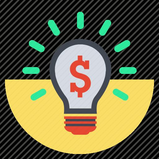 bright, bulp, business idea, creative, idea, lamp, money idea icon