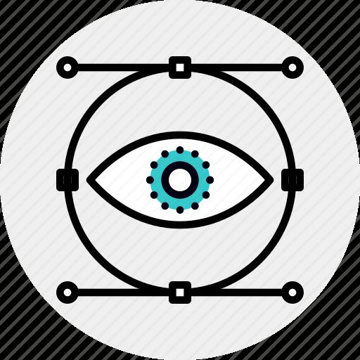 design, eye, graphic, process, vision, visualization, visualize icon