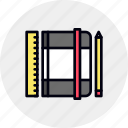 moleskine, notebook, pocketbook, sketching, sketchpad icon