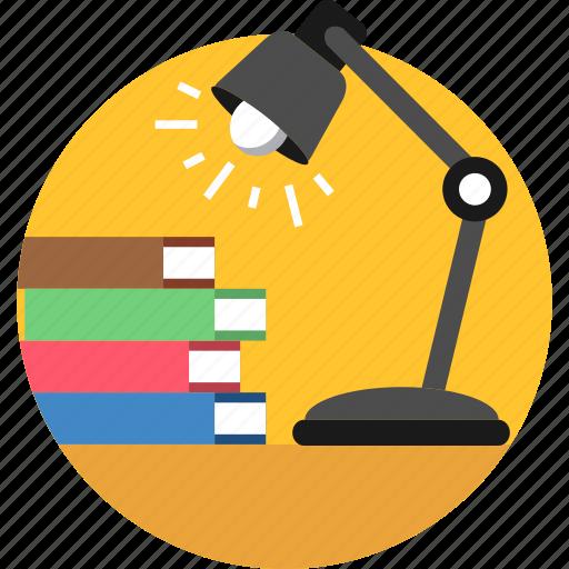 bulb, desk, electricity, energy, lamp, lighting, study icon