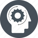 brain, gear, head, idea, management, remember, work icon