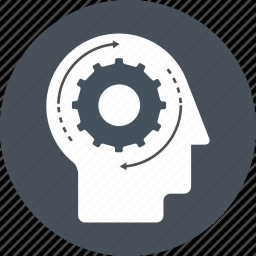brain, gear, head, idea, management, remember, work icon