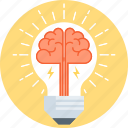 brain, creativity, idia, lamp, light icon
