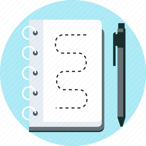 book, mock up, note, notebook, pen, sketch, wireframe icon