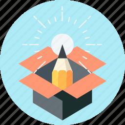 box, creativity, idea, out of the box, pen, pencil, thinking icon