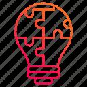 bulb, creative, jigsaw, puzzles, solution icon