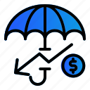 down, investment, money, protection, umbrella