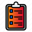 checklist, clipboard, form, note