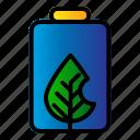 battery, ecology, energy, leaf icon