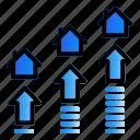 arrow, estate, investation, real, traffic icon
