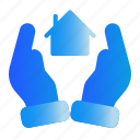 hand, house, investation, safe icon