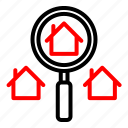 estate, investation, property, real, search icon