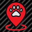 animal, gps, map, paw, pet, pin