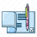 agreement, cartoon, document, object, paper, signature, treaty