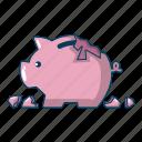 broken, cartoon, money, bank, economy, piggy, object icon