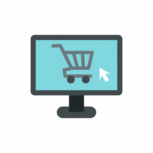 busines, buy, cart, computer, internet, monitor, retail icon