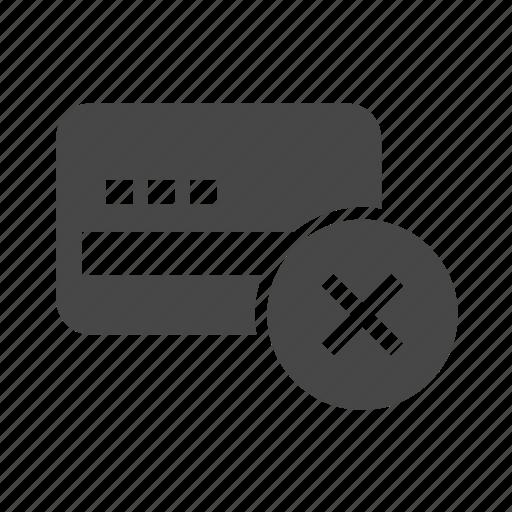 card, credit, credit card, debit, no, x icon