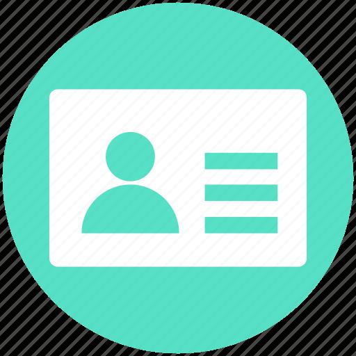 card, info, info card, profile, user, user card icon