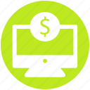 dollar, e banking, ecommerce, lcd, monitor, online payment icon