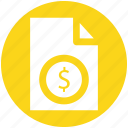 bill, document, dollar sign, file, money, paper
