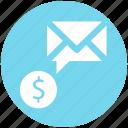 dollar envelope, dollar sign, envelope, letter, message icon