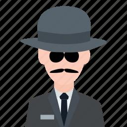 agent, crime, detective, detective glass, investigate, investigator, spy icon
