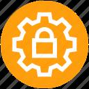 cog, gear, lock, secure, settings, setup