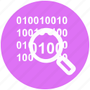 binary, code, digital, encryption, magnifier, security icon