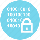 binary, code, digital, encryption, lock, security icon