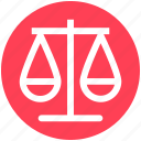 balance scale, court, justice scale, law, legal, security icon