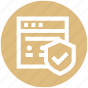 accept, page, protection, safe, security, shield icon