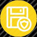 data secure, database, floppy disk, security, shield