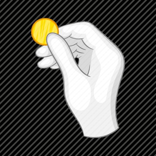 cartoon, coin, concept, hand, magic, magician, white icon