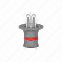 cartoon, hat, illusion, magic, rabbit, trick, white icon